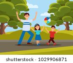 father with his kids playing in ... | Shutterstock .eps vector #1029906871