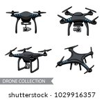 modern black air drone ... | Shutterstock .eps vector #1029916357