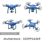 modern blue air drone ... | Shutterstock .eps vector #1029916369