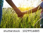 hands of holding each other in... | Shutterstock . vector #1029916885