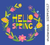 cute vector card with spring... | Shutterstock .eps vector #1029919117