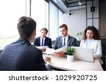 job interview with the employer ... | Shutterstock . vector #1029920725