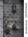 wooden door old and dark wooden ... | Shutterstock . vector #1029923635