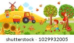 Stock vector vector illustration on a agricultural theme the tractor in the field cleans the hay boy and a 1029932005