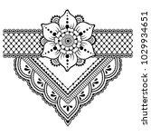 mehndi flower pattern for henna ... | Shutterstock .eps vector #1029934651