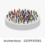 big people crowd in circle.... | Shutterstock .eps vector #1029935581