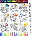 coloring book sea fish set....   Shutterstock . vector #1029952705
