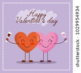 cute cartoon two hearts with... | Shutterstock .eps vector #1029954934
