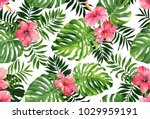 seamless pattern with monstera... | Shutterstock . vector #1029959191