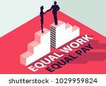 equal work equal pay isometric... | Shutterstock .eps vector #1029959824