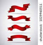 horizontal red banners ribbons... | Shutterstock .eps vector #1029960511