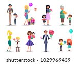 cartoon characters with tulips  ... | Shutterstock .eps vector #1029969439