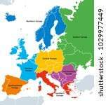europe regions political map | Shutterstock .eps vector #1029977449