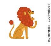 cute lion cartoon character... | Shutterstock .eps vector #1029988084