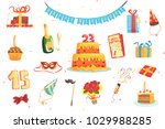 happy birthday party set of...   Shutterstock .eps vector #1029988285