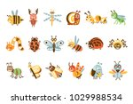 funky bugs and insects set of... | Shutterstock .eps vector #1029988534