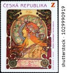 Small photo of Milan, Italy - February 7, 2018: Illustration of Zodiac by Alfonse Mucha on postage stamp