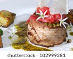 Small photo of Dariole of limousin - fine beef cutlet with parma ham, new Danish cuisine