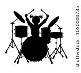 silhouette girl music plays the ... | Shutterstock .eps vector #1030000735