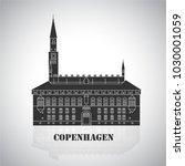 city hall square in copenhagen... | Shutterstock .eps vector #1030001059