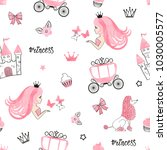 seamless princess pattern with... | Shutterstock .eps vector #1030005577