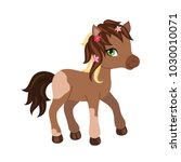 adorable cartoon horse... | Shutterstock .eps vector #1030010071