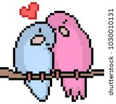 vector pixel art love bird... | Shutterstock .eps vector #1030010131