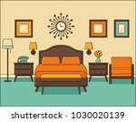 bedroom retro interior. hotel...   Shutterstock .eps vector #1030020139