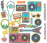 colorful collection of eighties ... | Shutterstock .eps vector #1030026355