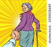 follow me mature woman granny... | Shutterstock .eps vector #1030028689