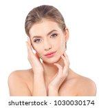 young beautiful woman face... | Shutterstock . vector #1030030174