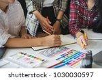 designers brainstorming concept ... | Shutterstock . vector #1030030597