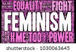 feminism word cloud on a black... | Shutterstock .eps vector #1030063645