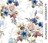 floral seamless pattern with... | Shutterstock . vector #1030064479