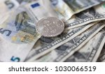 bitcoin with dollar and euro... | Shutterstock . vector #1030066519