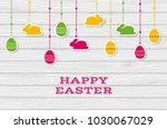 happy easter. vector greeting... | Shutterstock .eps vector #1030067029