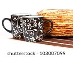 cups with tea and a pile of... | Shutterstock . vector #103007099