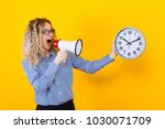 woman in shirt with clocks and... | Shutterstock . vector #1030071709