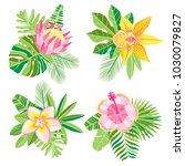 vector watercolor jungle palm... | Shutterstock .eps vector #1030079827