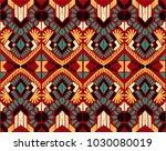 ikat geometric folklore... | Shutterstock .eps vector #1030080019