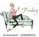 fashion girl with glass of... | Shutterstock .eps vector #1030080421