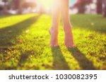 close up female crossed legs... | Shutterstock . vector #1030082395