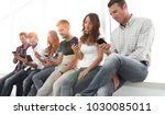 business team using a mobile... | Shutterstock . vector #1030085011