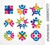 teamwork and friendship... | Shutterstock .eps vector #1030093777
