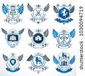 set of vector vintage elements  ...   Shutterstock .eps vector #1030094719