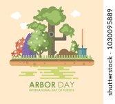 arbor day vector flat...   Shutterstock .eps vector #1030095889