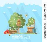 arbor day vector flat...   Shutterstock .eps vector #1030095895
