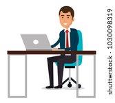 businessman in workplace... | Shutterstock .eps vector #1030098319