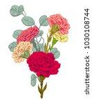 bouquet carnation schabaud ... | Shutterstock .eps vector #1030108744