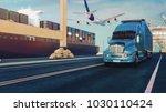 plane trucks are flying towards ... | Shutterstock . vector #1030110424